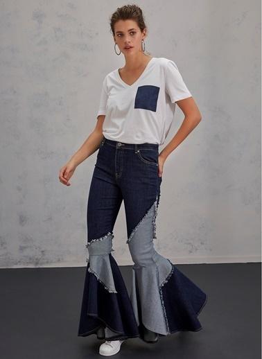 Pi π Paçaları Volanlı Jean Pantolon Mavi
